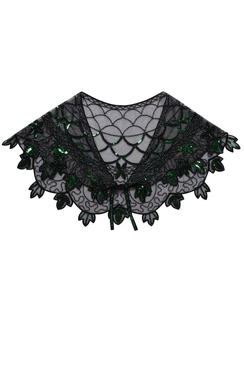 Load image into Gallery viewer, 1920s Green Flower Sequin Women Cape