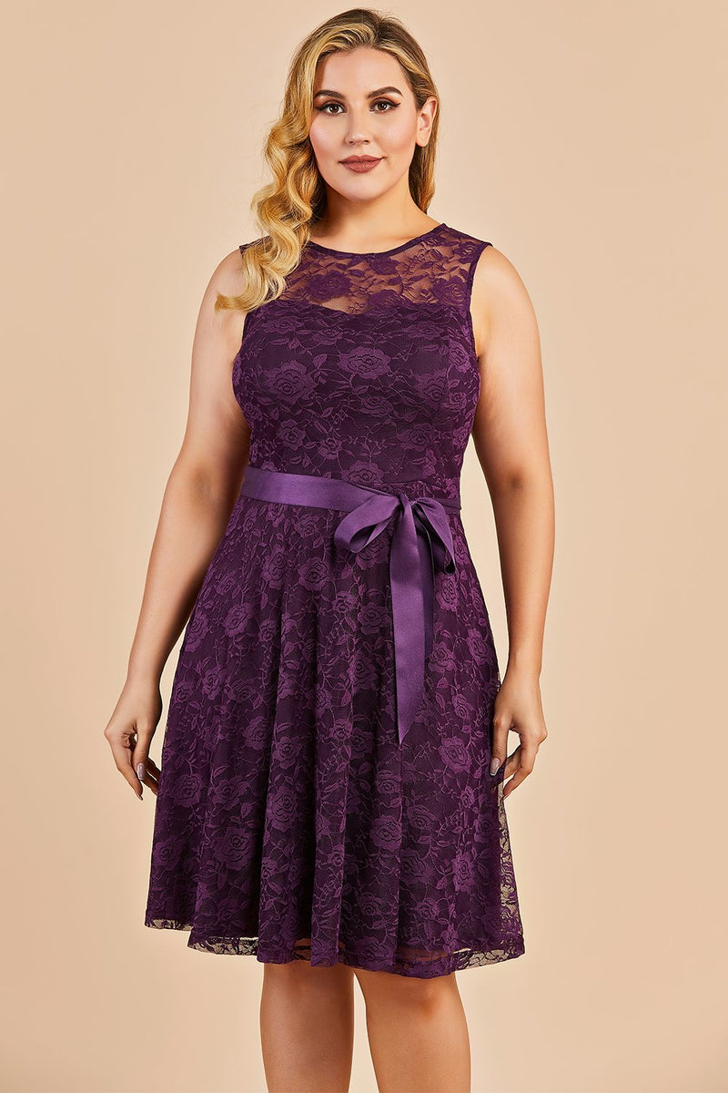 Load image into Gallery viewer, Grape Short Plus Size Lace Dress