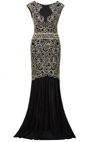 Black 1920s Flapper Long Dress