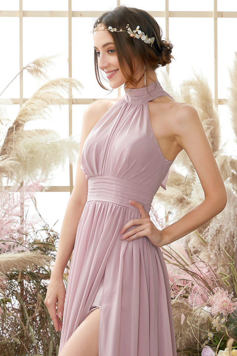 Load image into Gallery viewer, Halter Pleated Chiffon Bridesmaid Dress