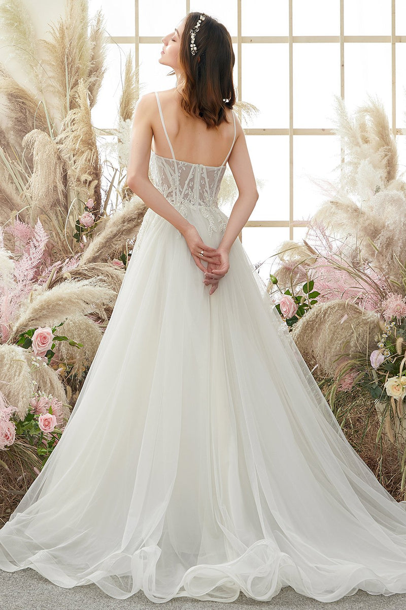 Load image into Gallery viewer, Ivory Spaghetti Straps Wedding Dress