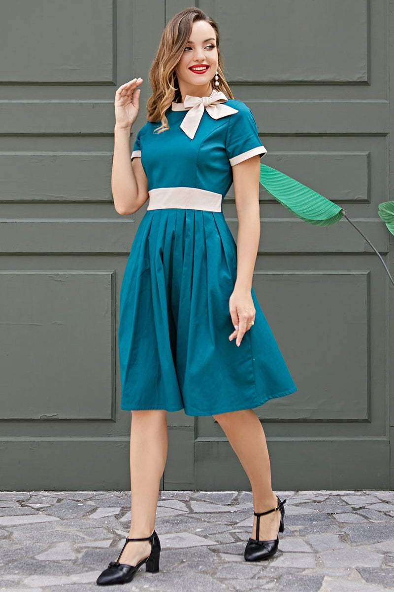 Load image into Gallery viewer, Blue Vintage Dress with Bow