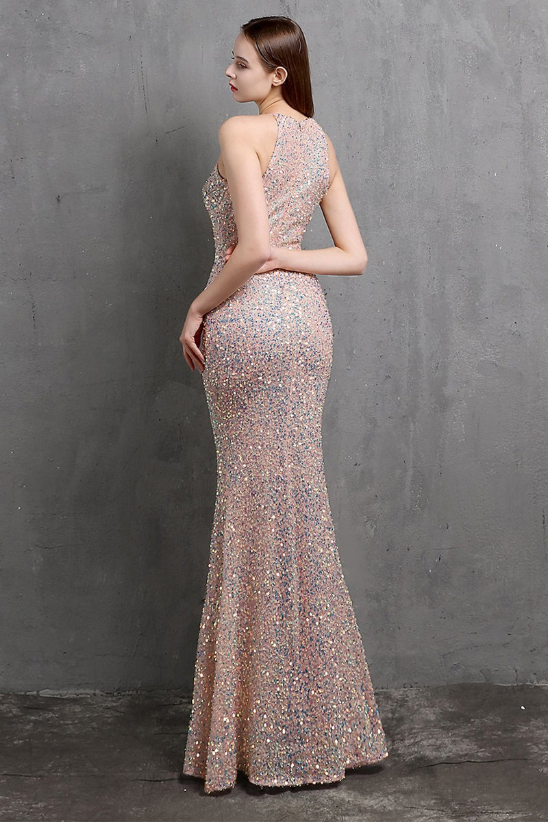 Load image into Gallery viewer, Burgundy Sequin Long Formal Dress with Slit