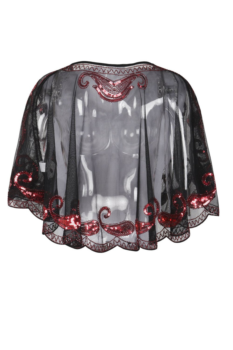 Load image into Gallery viewer, 1920s Red Glitter Sequins Cape