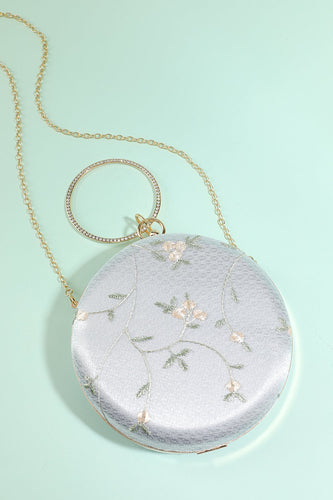 White Embroidery Handbag