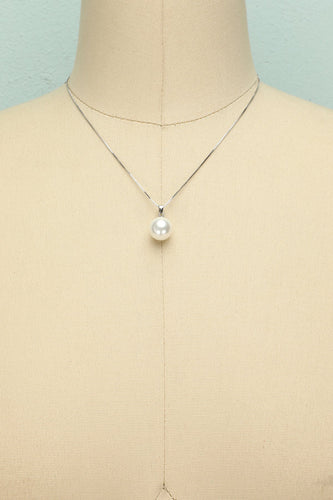 Silver Pearl Necklace - ZAPAKA