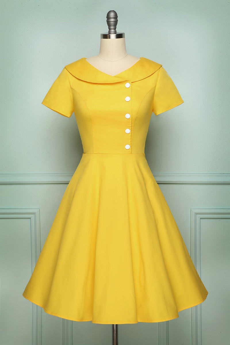 Load image into Gallery viewer, Yellow Button Dress - ZAPAKA