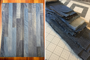When creating is more about pulling things apart (also known as making a denim quilt)
