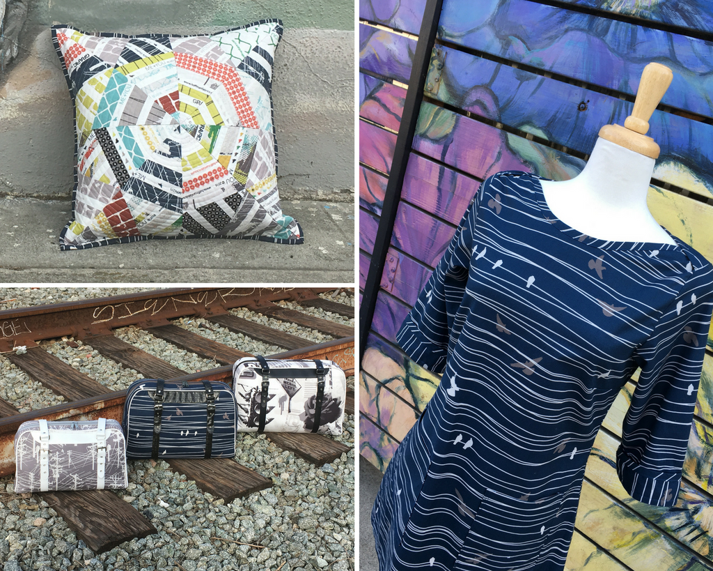 A dress pillow and bags made from the Grafic range