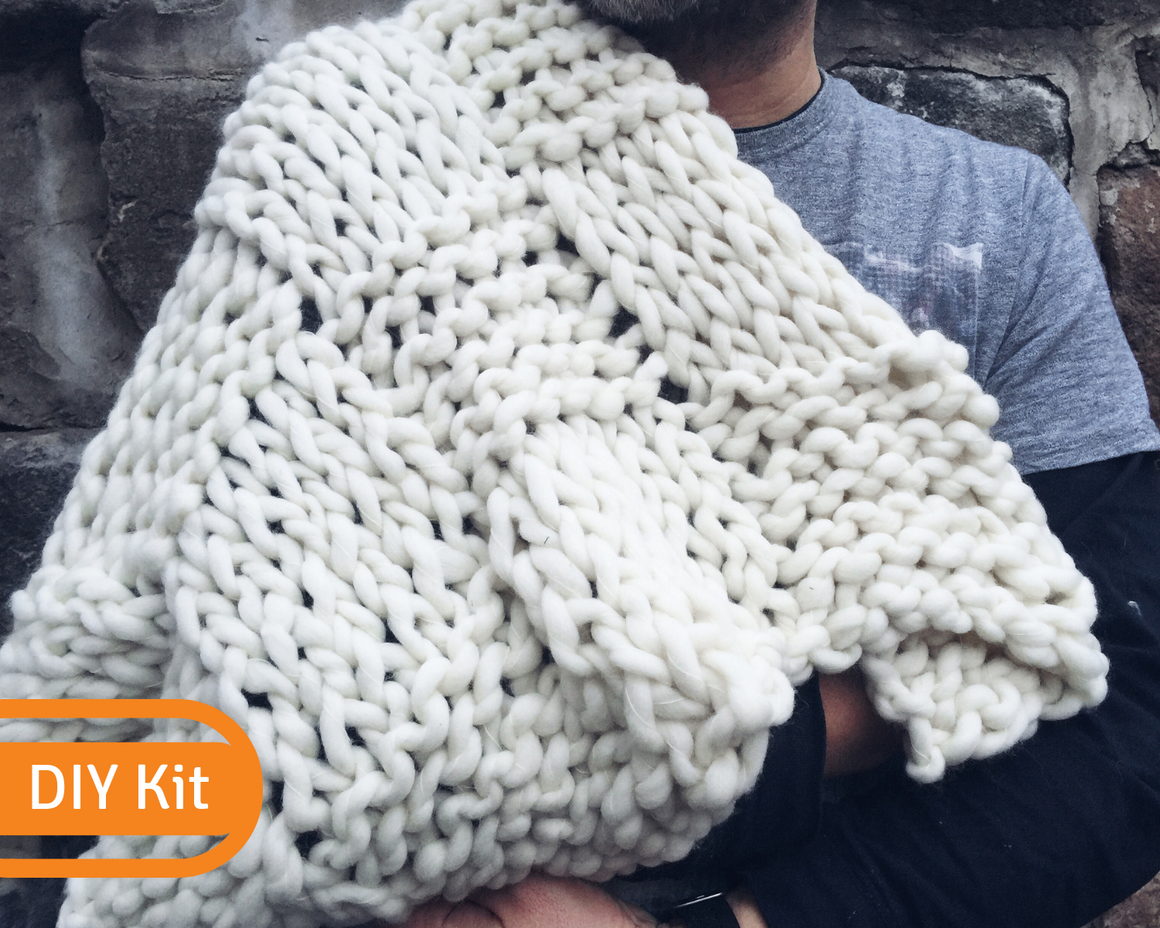 Basket Knit Throw DIY Kit