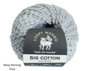 Loopy Mango Big Chunky Cotton Misty Morning Grey
