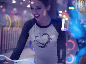 Heart - One Day One Way - Unisex 3/4 Sleeve raglan style shirt