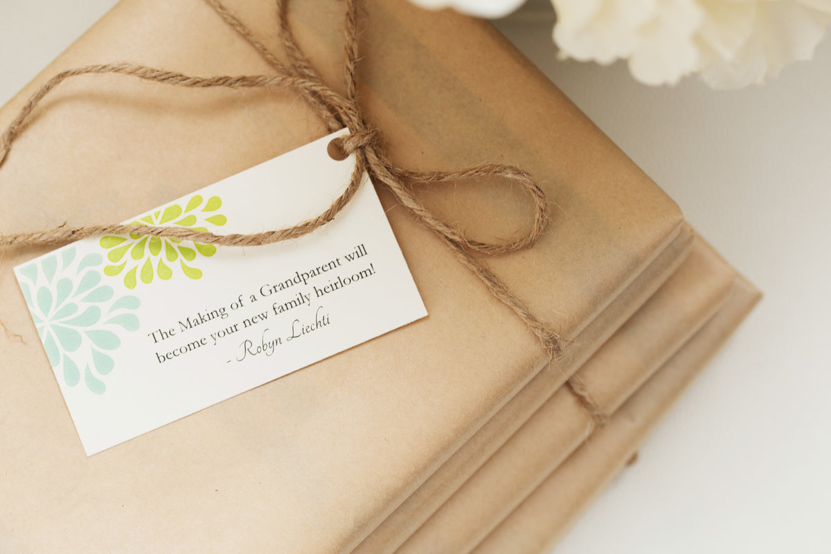 Journal gift wrapped in Kraft paper and twine