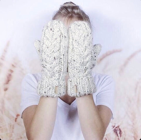 Knitted White Gloves by Wheatfield Knitwear