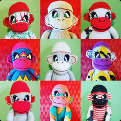 Colourful homemade sock monkeys