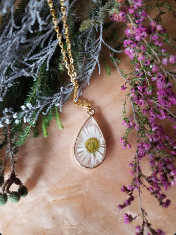 Wild Flower Jewelry with Dried White Flower