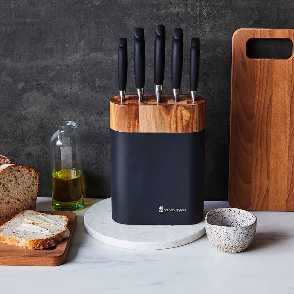 Stanley Rogers Black Oval 6 Piece Knife Block