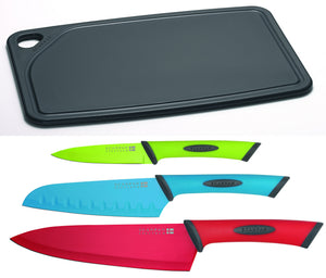 Load image into Gallery viewer, Scanpan Spectrum 4 Piece Cutting Board + Knife Set - Bronx Homewares