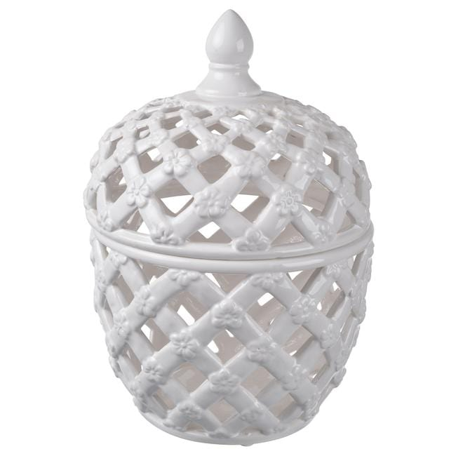 Load image into Gallery viewer, Lattice Decorative Lidded Jar Tall
