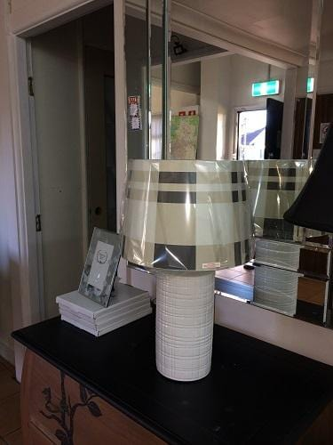 Set of 2 Channing white ceramic Bedside Lamp w/Chequered Shade
