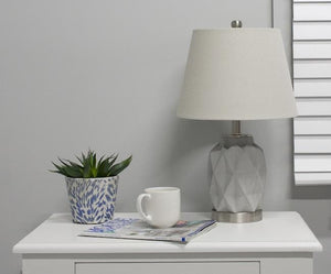 Load image into Gallery viewer, 2 Jude Bedside Lamp light grey and silver with shade