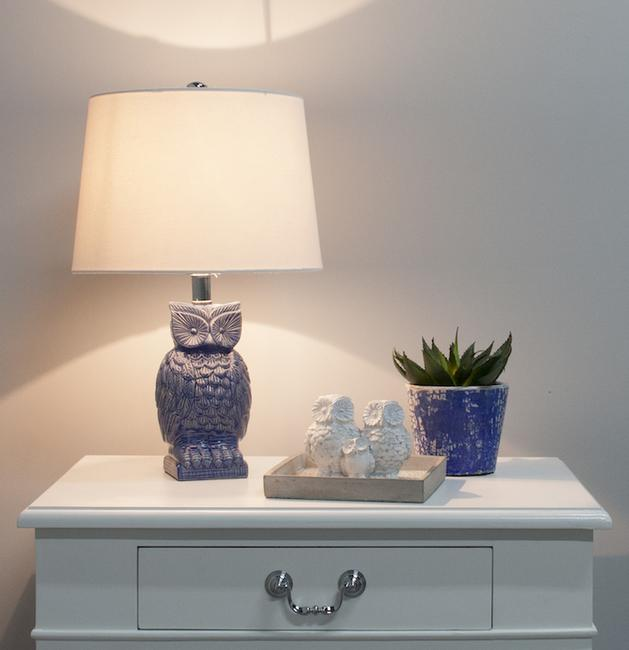 Blue Owl Bedside Lamp mid blue gloss ceramic with shade