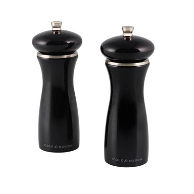 Cole & Mason Salt and Pepper Sherwood Set 16.5cm Black Gloss - Bronx Homewares