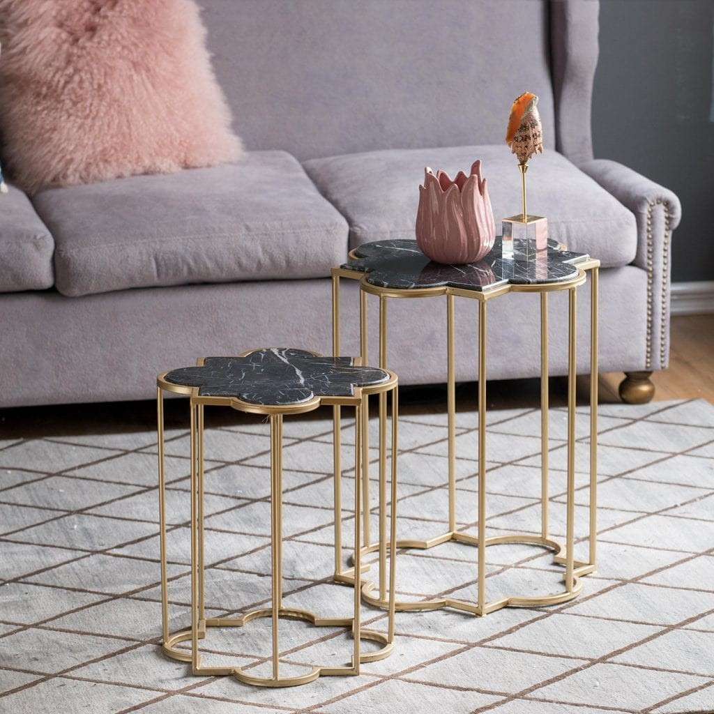 A&B Home 2-Piece Set Halycon Side Tables, Marble, Gold - Bronx Homewares
