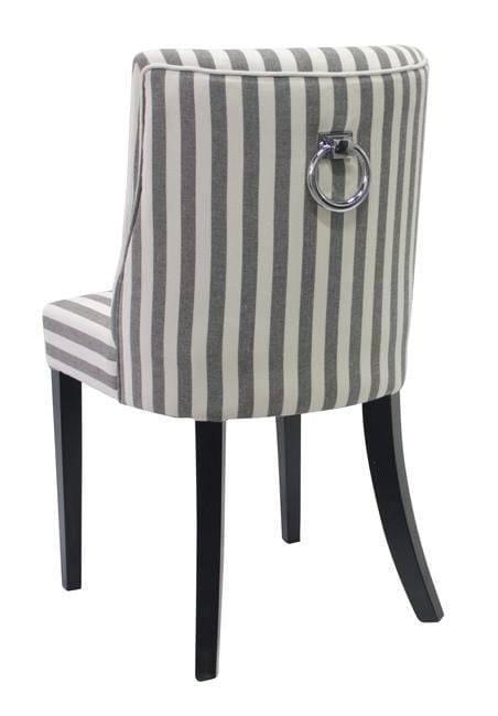 Ophelia Dining Chair Black & White Narrow Stripe with ring