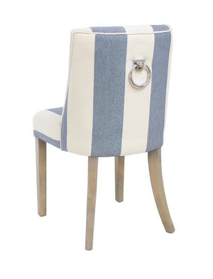 Ophelia Dining Chair Blue & White Wide Stripe