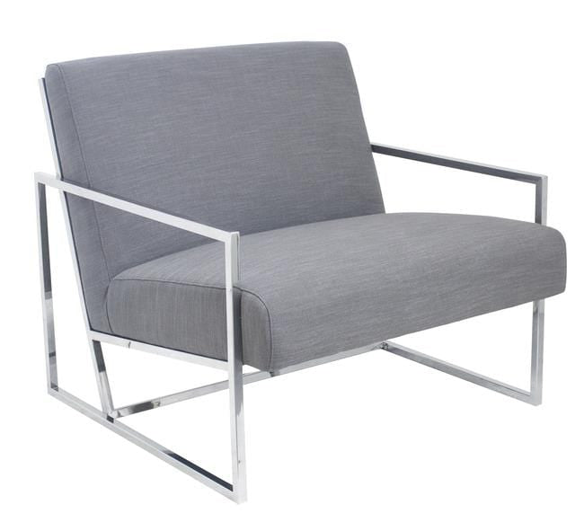 Jaxson Large Armchair Grey Chrome Frame