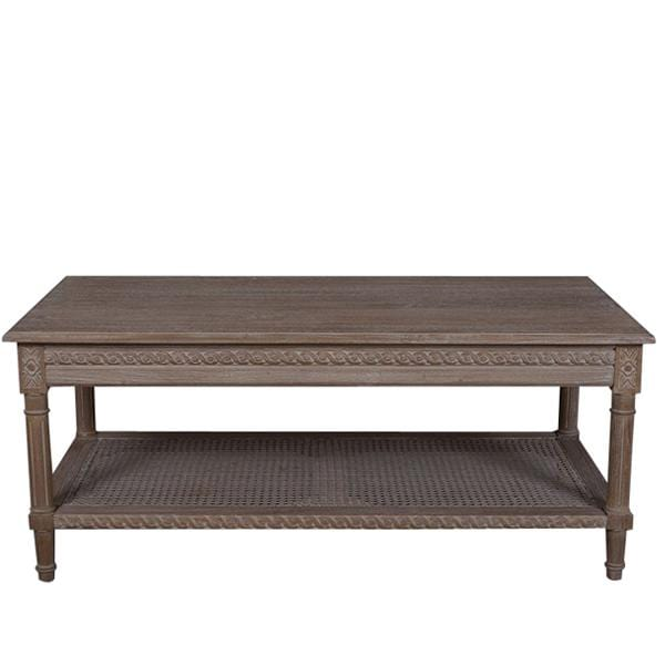 Polo Rectangular Coffee Table Oak Wash with rattan shelf