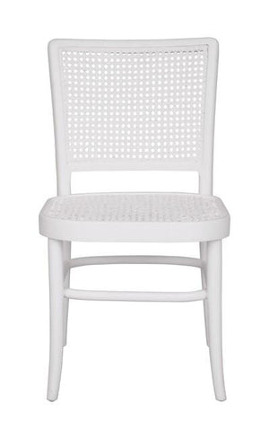Palm Rattan Dining Chair White Matt Finish