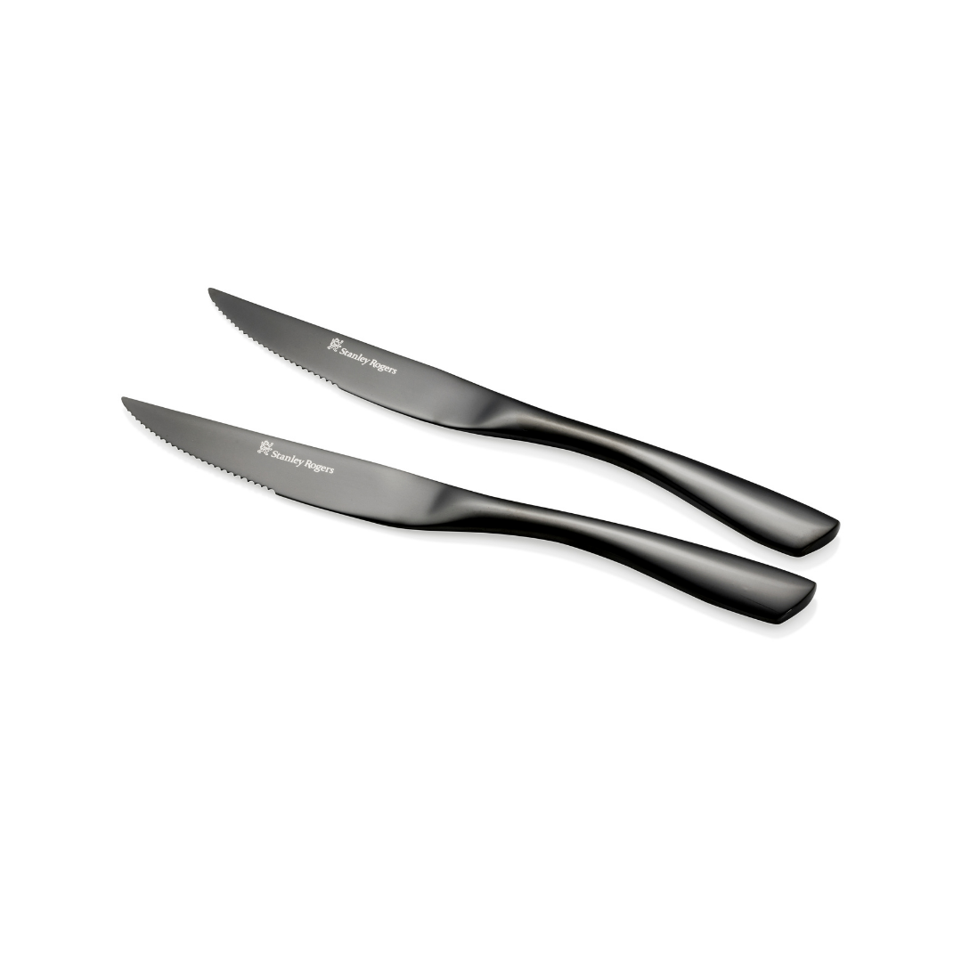 (NEW!) Stanley Rogers Soho Onyx Steak Knives 4 Piece Set