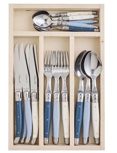 LAGUIOLE BY JEAN DUBOST ATELIER 24-PC CUTLERY SET BLUE - Bronx Homewares