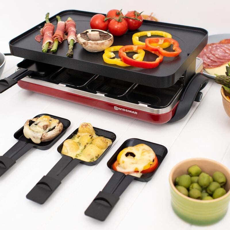Swissmar 8 Person Valais Raclette-Electric Party Grill Perfect for Tepinyaki ,Raclette,& BBQ