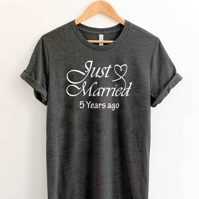 Just Married 2014 5th Wedding Anniversary Lovebirds Couples Surprise Gift T Shirt