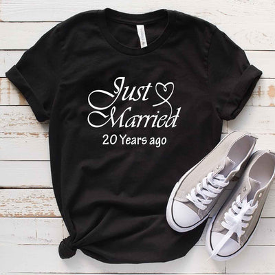 Just Married 1999 20th Wedding Anniversary Lovebirds Couples Surprise Gift T Shirt