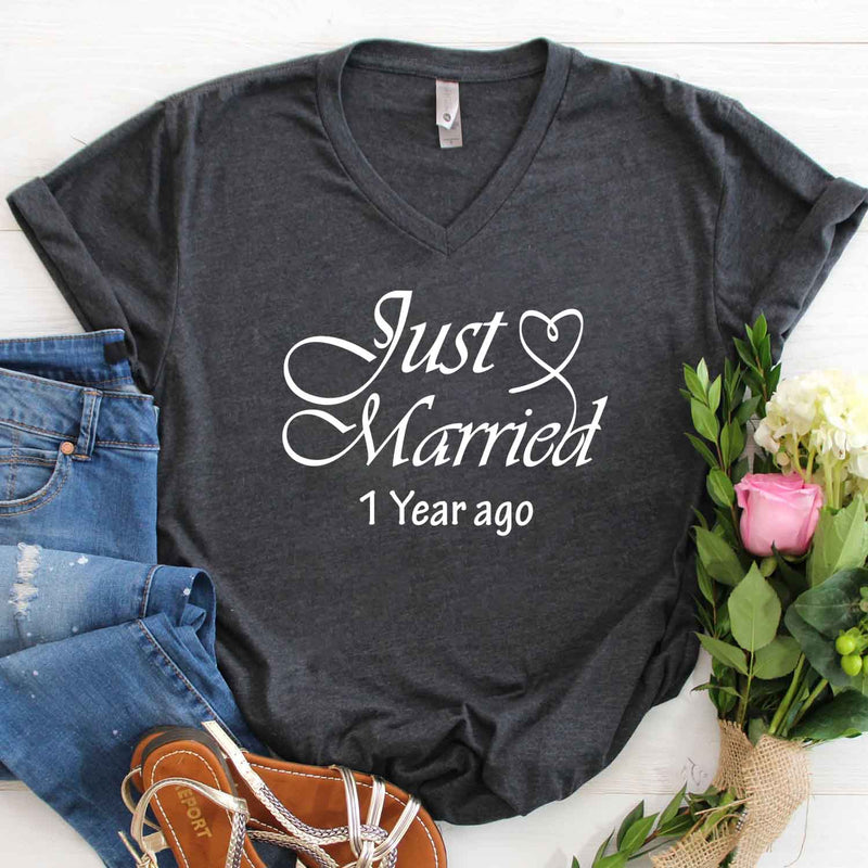 Just married 2018 1st wedding anniversary lovebirds couples surprise gift t shirt