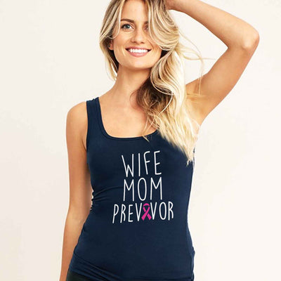 Breast Cancer Wife Mom Previvor T Shirt