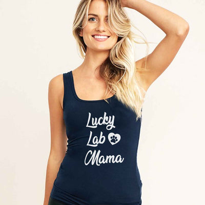 Lucky Lab Mama Shirt, Black Chocolate Labrador Yellow Mom T Shirt