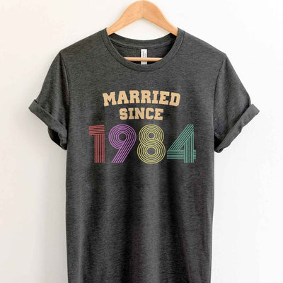 Married Since 1984 35th Wedding Anniversary Lovebirds Couples Surprise Gift T Shirt