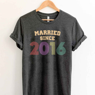 Married Since 2016 3rd Wedding Anniversary Lovebirds Couples Surprise Gift T Shirt