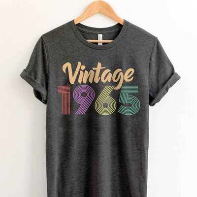 Vintage 1965 54th Birthday Anniversary T Shirt Gift for Family and Friend
