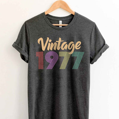 Vintage 1977 42nd Birthday Anniversary T Shirt Gift for Family and Friend