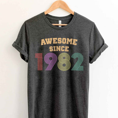 Vintage 1982 37th Birthday Anniversary T Shirt Gift for Family and Friend