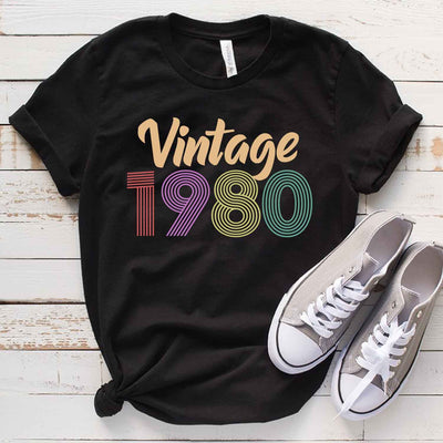 Vintage 1980 39th Birthday Anniversary T Shirt Gift for Family and Friend