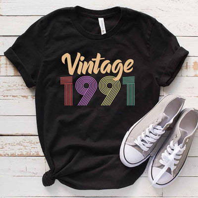 Vintage 1991 28th Birthday Anniversary T Shirt Gift for Family and Friend