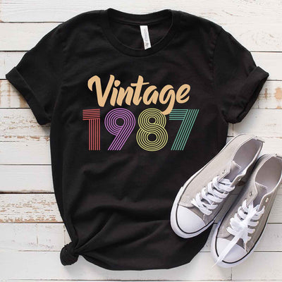 Vintage 1987 32nd Birthday Anniversary T Shirt Gift for Family and Friend