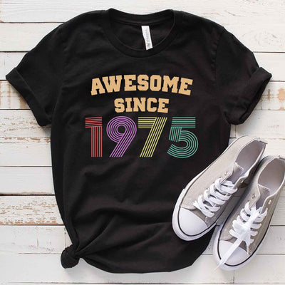 Vintage 1975 44th Birthday Anniversary T Shirt Gift for Family and Friend